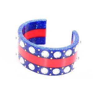 Authentic Gucci Web Crystal Cuff Bracelet Size 16